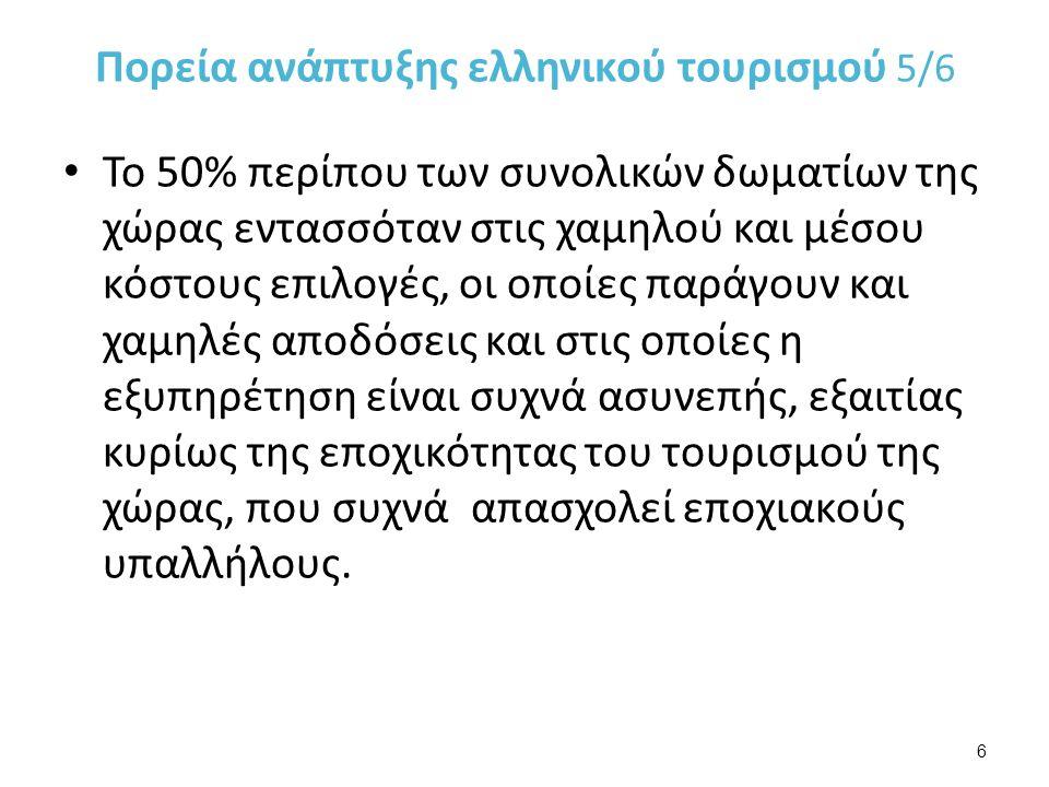 Πορεία ανάπτυξης ελληνικού τουρισμού 5/6 Το 50% περίπου των συνολικών δωματίων της χώρας εντασσόταν στις χαμηλού και μέσου κόστους επιλογές, οι οποίες παράγουν και χαμηλές αποδόσεις και στις οποίες η εξυπηρέτηση είναι συχνά ασυνεπής, εξαιτίας κυρίως της εποχικότητας του τουρισμού της χώρας, που συχνά απασχολεί εποχιακούς υπαλλήλους.
