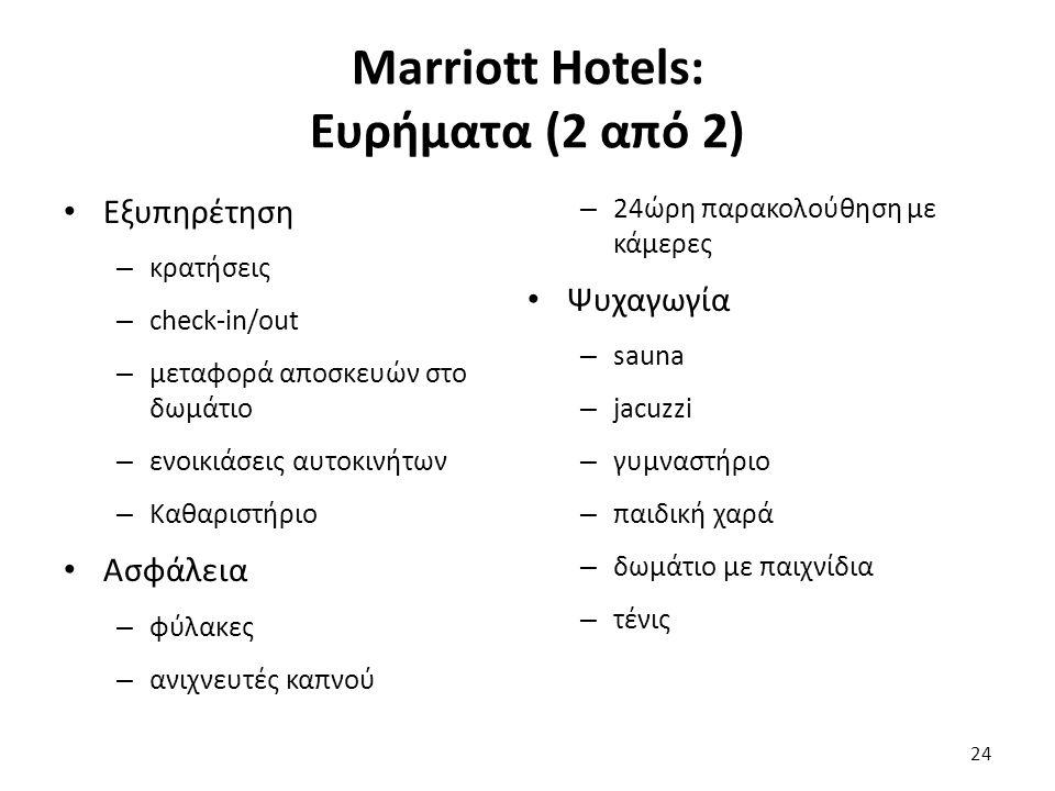 Marriott Hotels: Ευρήματα (2 από 2) Εξυπηρέτηση – κρατήσεις – check-in/out – μεταφορά αποσκευών στο δωμάτιο – ενοικιάσεις αυτοκινήτων – Καθαριστήριο Ασφάλεια – φύλακες – ανιχνευτές καπνού – 24ώρη παρακολούθηση με κάμερες Ψυχαγωγία – sauna – jacuzzi – γυμναστήριο – παιδική χαρά – δωμάτιο με παιχνίδια – τένις 24