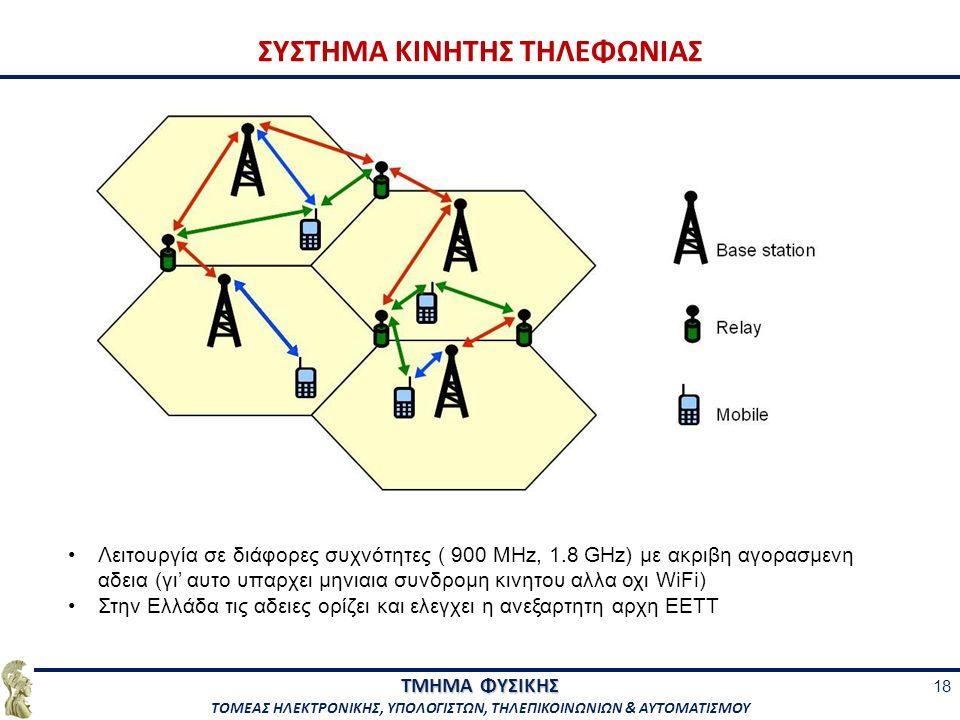 ΤΜΗΜΑ ΦΥΣΙΚΗΣ ΤΟΜΕΑΣ ΗΛΕΚΤΡΟΝΙΚΗΣ, ΥΠΟΛΟΓΙΣΤΩΝ, ΤΗΛΕΠΙΚΟΙΝΩΝΙΩΝ & ΑΥΤΟΜΑΤΙΣΜΟΥ ΣΥΣΤΗΜΑ ΚΙΝΗΤΗΣ ΤΗΛΕΦΩΝΙΑΣ 18 Λειτουργία σε διάφορες συχνότητες ( 900 MHz, 1.8 GHz) με ακριβη αγορασμενη αδεια (γι' αυτο υπαρχει μηνιαια συνδρομη κινητου αλλα οχι WiFi) Στην Ελλάδα τις αδειες ορίζει και ελεγχει η ανεξαρτητη αρχη ΕΕΤΤ