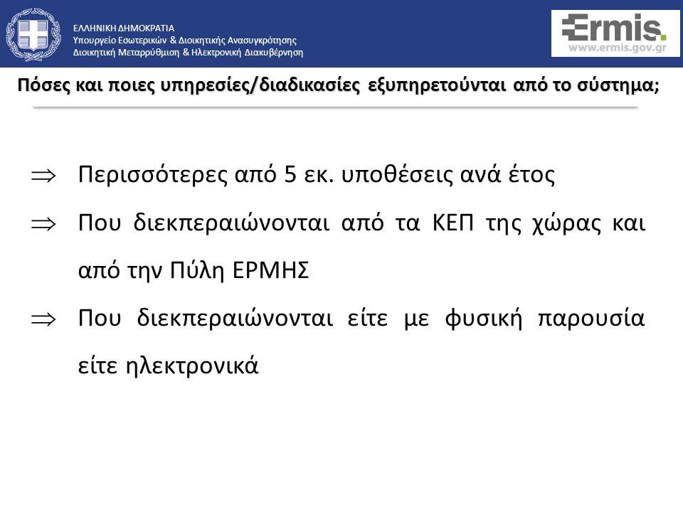 ΕΛΛΗΝΙΚΗ ΔΗΜΟΚΡΑΤΙΑ Υπουργείο Εσωτερικών & Διοικητικής Ανασυγκρότησης Διοικητική Μεταρρύθμιση & Ηλεκτρονική Διακυβέρνηση o Κατά την υποβολή της αίτησης, ζητείται από τον πολίτη η επιλογή ενός ΚΕΠ το οποίο θα διαχειριστεί την υπόθεσή του.
