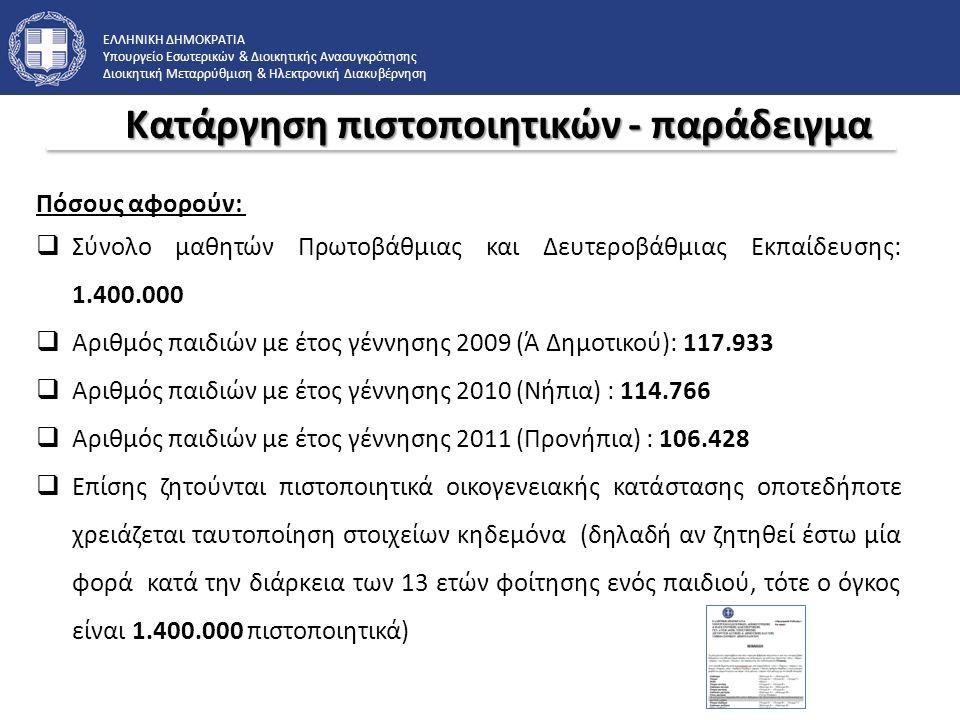 ΕΛΛΗΝΙΚΗ ΔΗΜΟΚΡΑΤΙΑ Υπουργείο Εσωτερικών & Διοικητικής Ανασυγκρότησης Διοικητική Μεταρρύθμιση & Ηλεκτρονική Διακυβέρνηση Πόσους αφορούν:  Σύνολο μαθητών Πρωτοβάθμιας και Δευτεροβάθμιας Εκπαίδευσης: 1.400.000  Αριθμός παιδιών με έτος γέννησης 2009 (Ά Δημοτικού): 117.933  Αριθμός παιδιών με έτος γέννησης 2010 (Νήπια) : 114.766  Αριθμός παιδιών με έτος γέννησης 2011 (Προνήπια) : 106.428  Επίσης ζητούνται πιστοποιητικά οικογενειακής κατάστασης οποτεδήποτε χρειάζεται ταυτοποίηση στοιχείων κηδεμόνα (δηλαδή αν ζητηθεί έστω μία φορά κατά την διάρκεια των 13 ετών φοίτησης ενός παιδιού, τότε ο όγκος είναι 1.400.000 πιστοποιητικά) Κατάργηση πιστοποιητικών - παράδειγμα