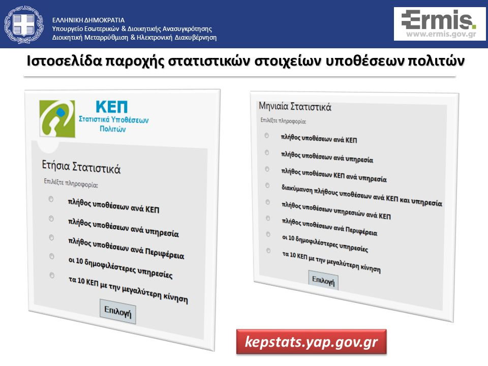 ΕΛΛΗΝΙΚΗ ΔΗΜΟΚΡΑΤΙΑ Υπουργείο Εσωτερικών & Διοικητικής Ανασυγκρότησης Διοικητική Μεταρρύθμιση & Ηλεκτρονική Διακυβέρνηση Παρέχει στατιστικά στοιχείων διεκπεραίωσης υποθέσεων πολιτών μέσω των Κέντρων Εξυπηρέτησης Πολιτών και της Πύλης ΕΡΜΗΣ.