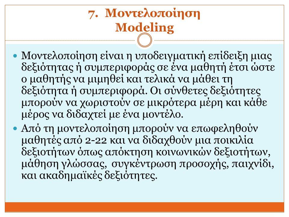 7. Μοντελοποίηση Modeling Μοντελοποίηση είναι η υποδειγματική επίδειξη μιας δεξιότητας ή συμπεριφοράς σε ένα μαθητή έτσι ώστε ο μαθητής να μιμηθεί και