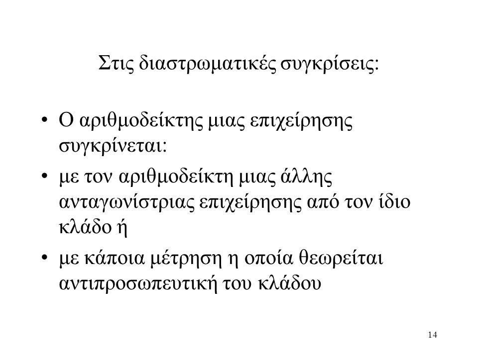14 Στις διαστρωματικές συγκρίσεις: Ο αριθμοδείκτης μιας επιχείρησης συγκρίνεται: με τον αριθμοδείκτη μιας άλλης ανταγωνίστριας επιχείρησης από τον ίδιο κλάδο ή με κάποια μέτρηση η οποία θεωρείται αντιπροσωπευτική του κλάδου