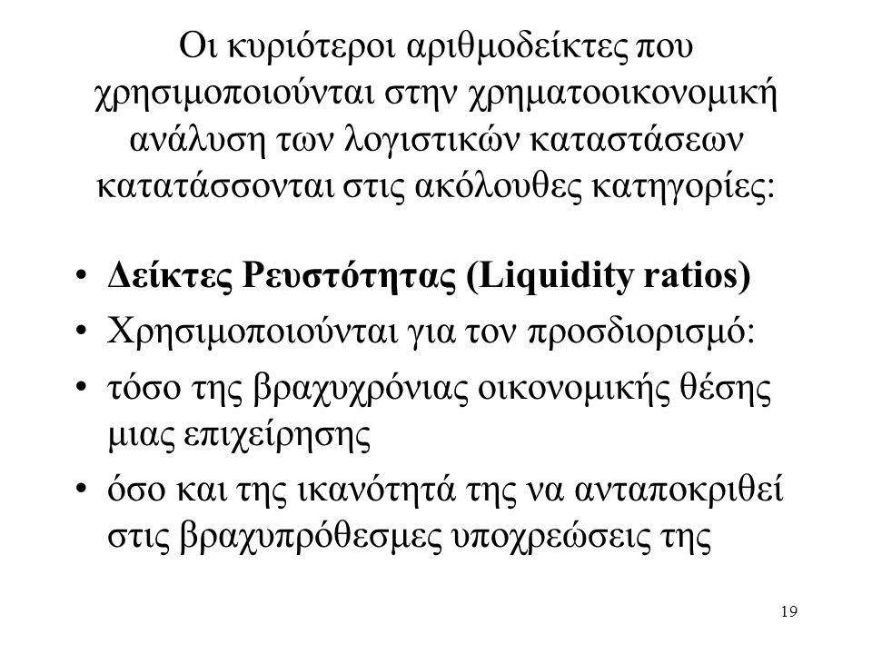 19 Οι κυριότεροι αριθμοδείκτες που χρησιμοποιούνται στην χρηματοοικονομική ανάλυση των λογιστικών καταστάσεων κατατάσσονται στις ακόλουθες κατηγορίες: Δείκτες Ρευστότητας (Liquidity ratios) Χρησιμοποιούνται για τον προσδιορισμό: τόσο της βραχυχρόνιας οικονομικής θέσης μιας επιχείρησης όσο και της ικανότητά της να ανταποκριθεί στις βραχυπρόθεσμες υποχρεώσεις της