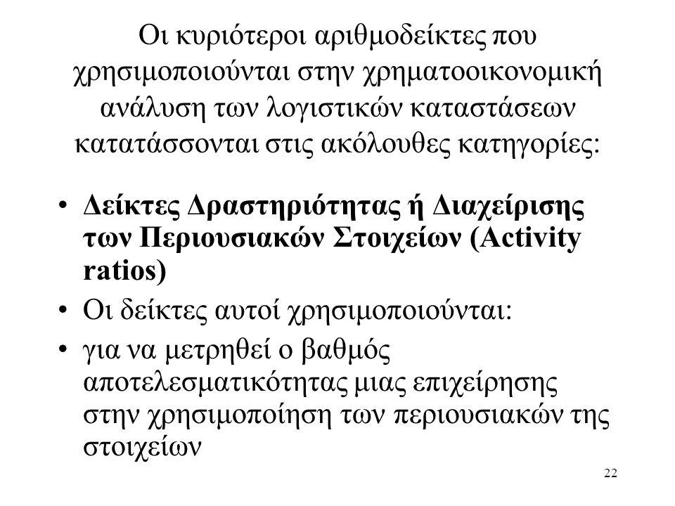 22 Οι κυριότεροι αριθμοδείκτες που χρησιμοποιούνται στην χρηματοοικονομική ανάλυση των λογιστικών καταστάσεων κατατάσσονται στις ακόλουθες κατηγορίες: Δείκτες Δραστηριότητας ή Διαχείρισης των Περιουσιακών Στοιχείων (Activity ratios) Οι δείκτες αυτοί χρησιμοποιούνται: για να μετρηθεί ο βαθμός αποτελεσματικότητας μιας επιχείρησης στην χρησιμοποίηση των περιουσιακών της στοιχείων