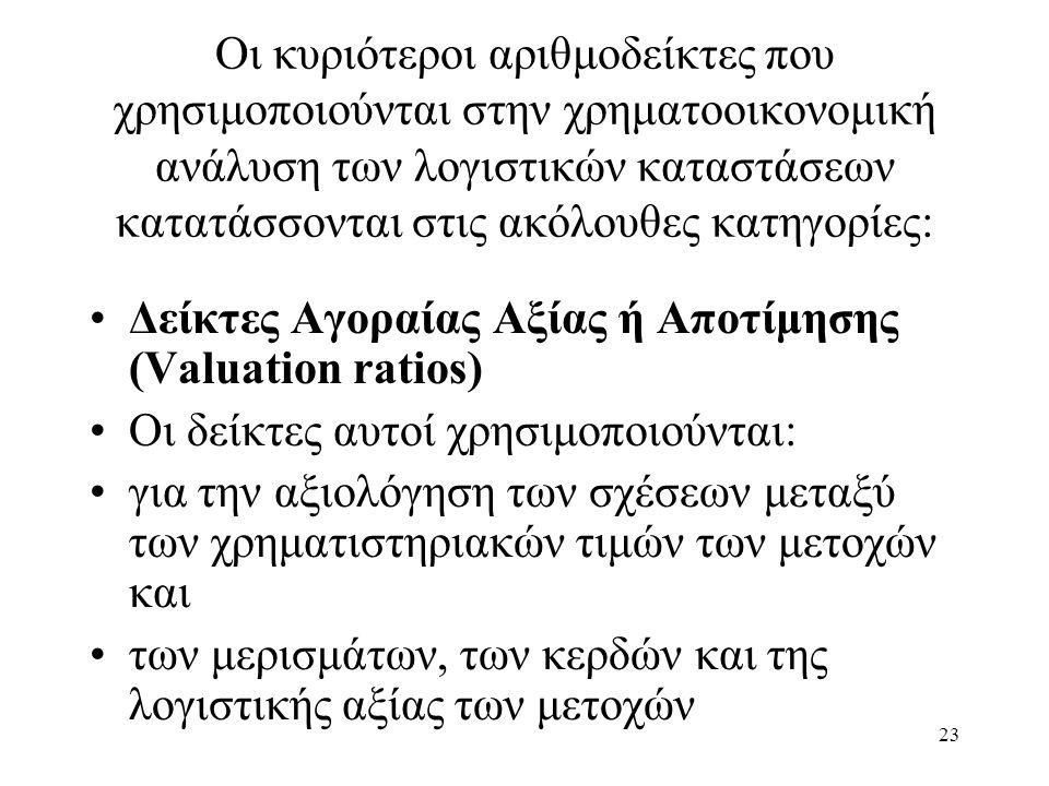 23 Οι κυριότεροι αριθμοδείκτες που χρησιμοποιούνται στην χρηματοοικονομική ανάλυση των λογιστικών καταστάσεων κατατάσσονται στις ακόλουθες κατηγορίες: Δείκτες Αγοραίας Αξίας ή Αποτίμησης (Valuation ratios) Οι δείκτες αυτοί χρησιμοποιούνται: για την αξιολόγηση των σχέσεων μεταξύ των χρηματιστηριακών τιμών των μετοχών και των μερισμάτων, των κερδών και της λογιστικής αξίας των μετοχών