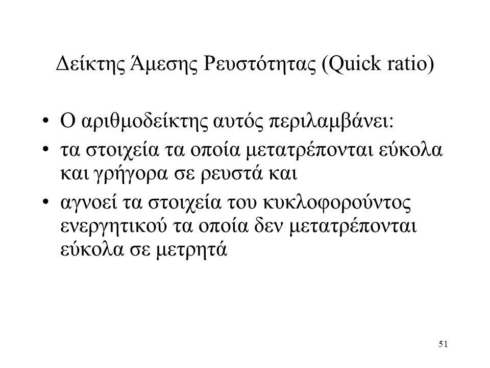 51 Δείκτης Άμεσης Ρευστότητας (Quick ratio) Ο αριθμοδείκτης αυτός περιλαμβάνει: τα στοιχεία τα οποία μετατρέπονται εύκολα και γρήγορα σε ρευστά και αγνοεί τα στοιχεία του κυκλοφορούντος ενεργητικού τα οποία δεν μετατρέπονται εύκολα σε μετρητά