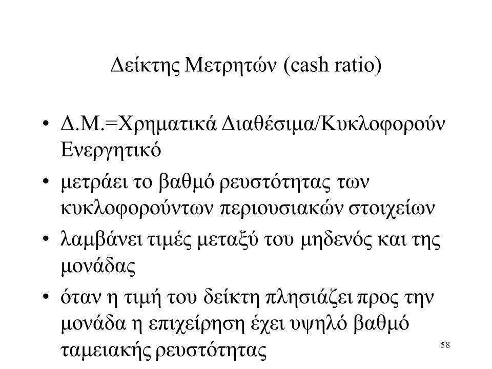 58 Δείκτης Μετρητών (cash ratio) Δ.Μ.=Χρηματικά Διαθέσιμα/Κυκλοφορούν Ενεργητικό μετράει το βαθμό ρευστότητας των κυκλοφορούντων περιουσιακών στοιχείων λαμβάνει τιμές μεταξύ του μηδενός και της μονάδας όταν η τιμή του δείκτη πλησιάζει προς την μονάδα η επιχείρηση έχει υψηλό βαθμό ταμειακής ρευστότητας