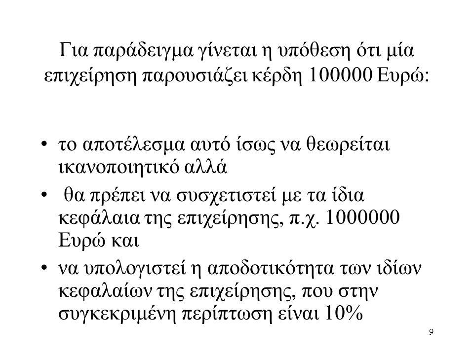 9 Για παράδειγμα γίνεται η υπόθεση ότι μία επιχείρηση παρουσιάζει κέρδη 100000 Ευρώ: το αποτέλεσμα αυτό ίσως να θεωρείται ικανοποιητικό αλλά θα πρέπει να συσχετιστεί με τα ίδια κεφάλαια της επιχείρησης, π.χ.