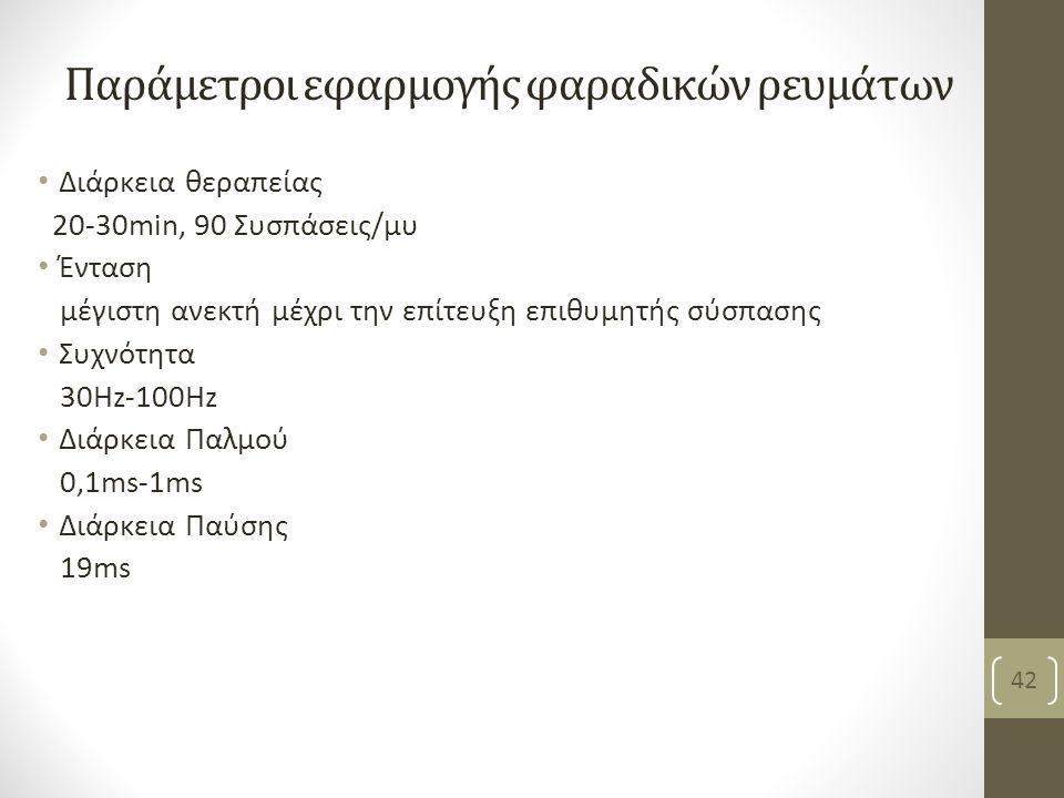 Παράμετροι εφαρμογής φαραδικών ρευμάτων Διάρκεια θεραπείας 20-30min, 90 Συσπάσεις/μυ Ένταση μέγιστη ανεκτή μέχρι την επίτευξη επιθυμητής σύσπασης Συχνότητα 30Hz-100Hz Διάρκεια Παλμού 0,1ms-1ms Διάρκεια Παύσης 19ms Βασιλειάδη Κ, PT, MSc 42