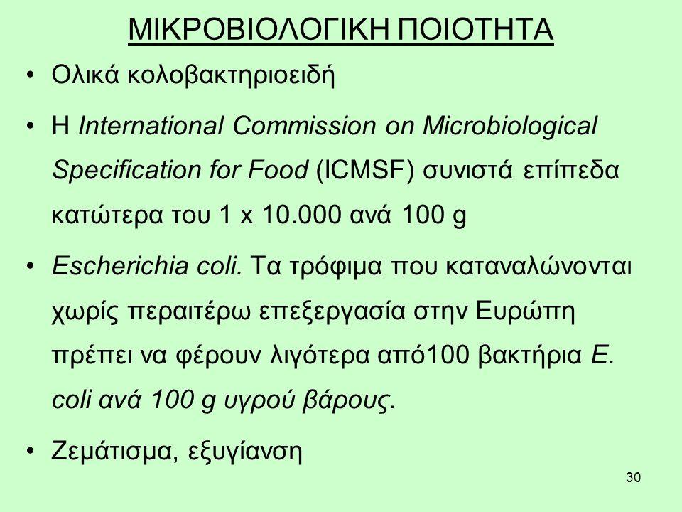 30 ΜΙΚΡΟΒΙΟΛΟΓΙΚΗ ΠΟΙΟΤΗΤΑ Ολικά κολοβακτηριοειδή Η International Commission on Microbiological Specification for Food (ICMSF) συνιστά επίπεδα κατώτερα του 1 x 10.000 ανά 100 g Escherichia coli.