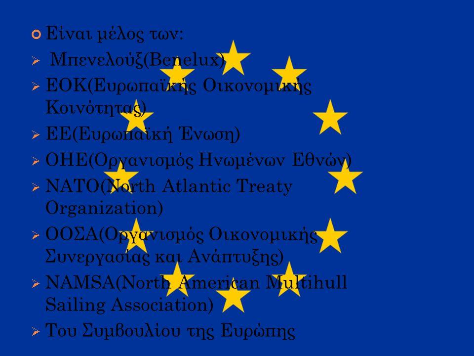 Είναι μέλος των:  Μπενελούξ(Benelux) ΕΕΟΚ(Ευρωπαϊκής Οικονομικής Κοινότητας) ΕΕΕ(Ευρωπαϊκή Ένωση) ΟΟΗΕ(Οργανισμός Ηνωμένων Εθνών) ΝΝΑΤΟ(Νοrth Αtlantic Τreaty Οrganizatiοn) ΟΟΟΣΑ(Οργανισμός Οικονομικής Συνεργασίας και Ανάπτυξης) ΝΝΑΜSΑ(North American Multihull Sailing Association) ΤΤου Συμβουλίου της Ευρώπης