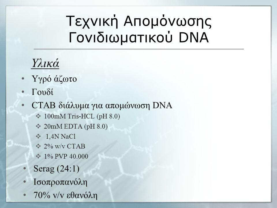 Υγρό άζωτο Γουδί CTAB διάλυμα για απομώνωση DNA  100mM Tris-HCL (pH 8.0)  20mM EDTA (pH 8.0)  1,4N NaCl  2% w/v CTAB  1% PVP 40.000 Serag (24:1) Ισοπροπανόλη 70% v/v εθανόλη Τεχνική Απομόνωσης Γονιδιωματικού DNA Υλικά