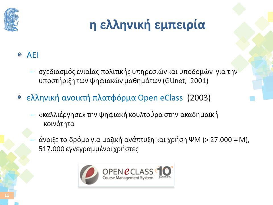 11 η ελληνική εμπειρία AEI – σχεδιασμός ενιαίας πολιτικής υπηρεσιών και υποδομών για την υποστήριξη των ψηφιακών μαθημάτων (GUnet, 2001) ελληνική ανοικτή πλατφόρμα Open eClass (2003) – «καλλιέργησε» την ψηφιακή κουλτούρα στην ακαδημαϊκή κοινότητα – άνοιξε το δρόμο για μαζική ανάπτυξη και χρήση ΨΜ (> 27.000 ΨΜ), 517.000 εγγεγραμμένοι χρήστες