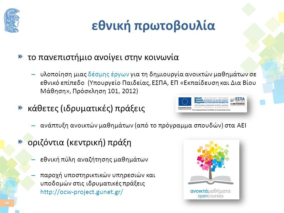 16 εθνική πρωτοβουλία το πανεπιστήμιο ανοίγει στην κοινωνία – υλοποίηση μιας δέσμης έργων για τη δημιουργία ανοικτών μαθημάτων σε εθνικό επίπεδο (Υπουργείο Παιδείας, ΕΣΠΑ, ΕΠ «Εκπαίδευση και Δια Βίου Μάθηση», Πρόσκληση 101, 2012) κάθετες (ιδρυματικές) πράξεις – ανάπτυξη ανοικτών μαθημάτων (από το πρόγραμμα σπουδών) στα ΑΕΙ οριζόντια (κεντρική) πράξη – εθνική πύλη αναζήτησης μαθημάτων – παροχή υποστηρικτικών υπηρεσιών και υποδομών στις ιδρυματικές πράξεις http://ocw-project.gunet.gr/