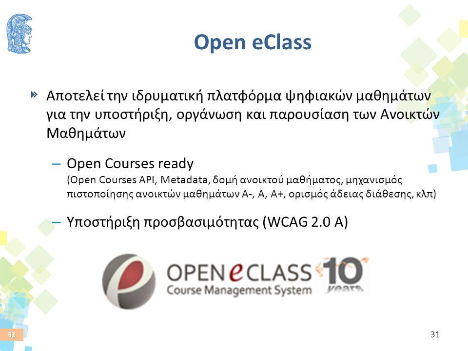 31 Open eClass Αποτελεί την ιδρυματική πλατφόρμα ψηφιακών μαθημάτων για την υποστήριξη, οργάνωση και παρουσίαση των Ανοικτών Μαθημάτων – Open Courses