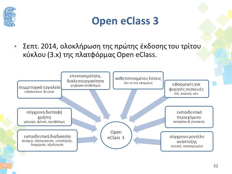 32 Open eClass 3 εκπαιδευτική διαδικασία σενάρια, εξατομίκευση, υποστήριξη, διαχείριση, αξιολόγηση σύγχρονη διεπαφή χρήστη γρήγορη, φιλική, προσβάσιμη