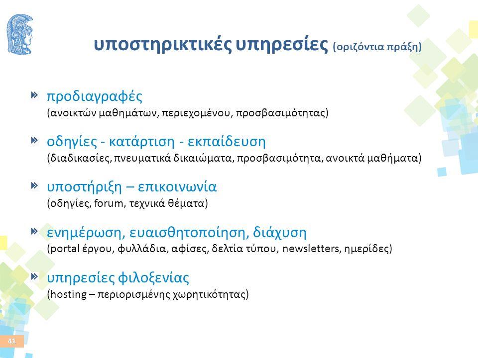 41 υποστηρικτικές υπηρεσίες (οριζόντια πράξη) προδιαγραφές (ανοικτών μαθημάτων, περιεχομένου, προσβασιμότητας) οδηγίες - κατάρτιση - εκπαίδευση (διαδικασίες, πνευματικά δικαιώματα, προσβασιμότητα, ανοικτά μαθήματα) υποστήριξη – επικοινωνία (οδηγίες, forum, τεχνικά θέματα) ενημέρωση, ευαισθητοποίηση, διάχυση (portal έργου, φυλλάδια, αφίσες, δελτία τύπου, newsletters, ημερίδες) υπηρεσίες φιλοξενίας (hosting – περιορισμένης χωρητικότητας)
