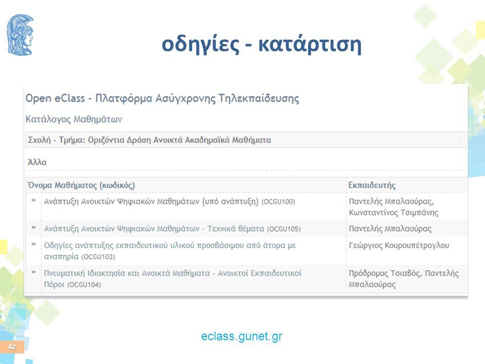 42 οδηγίες - κατάρτιση eclass.gunet.gr
