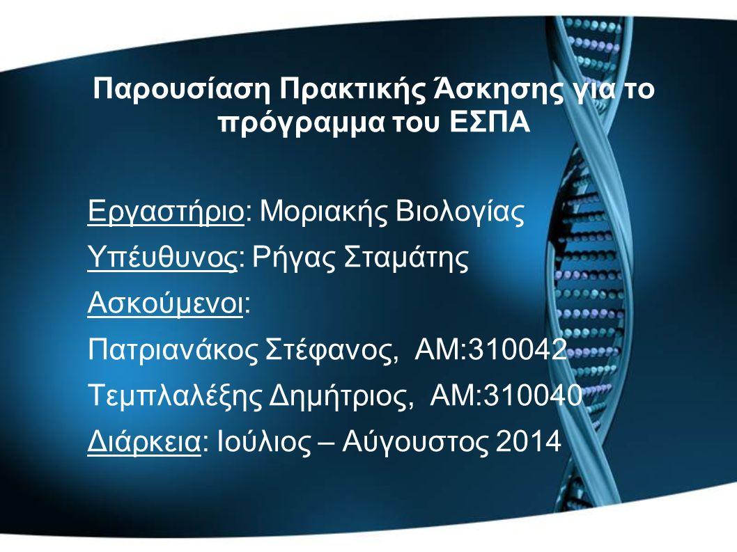 Παρουσίαση Πρακτικής Άσκησης για το πρόγραμμα του ΕΣΠΑ Εργαστήριο: Μοριακής Βιολογίας Υπέυθυνος: Ρήγας Σταμάτης Ασκούμενοι: Πατριανάκος Στέφανος, AM:310042 Τεμπλαλέξης Δημήτριος, ΑΜ:310040 Διάρκεια: Ιούλιος – Αύγουστος 2014