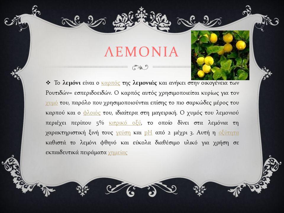 ΛΕΜΟΝΙΑ  Το λεμόνι είναι ο καρπός της λεμονιάς και ανήκει στην οικογένεια των Ρουτιδών = εσπεριδοειδών.