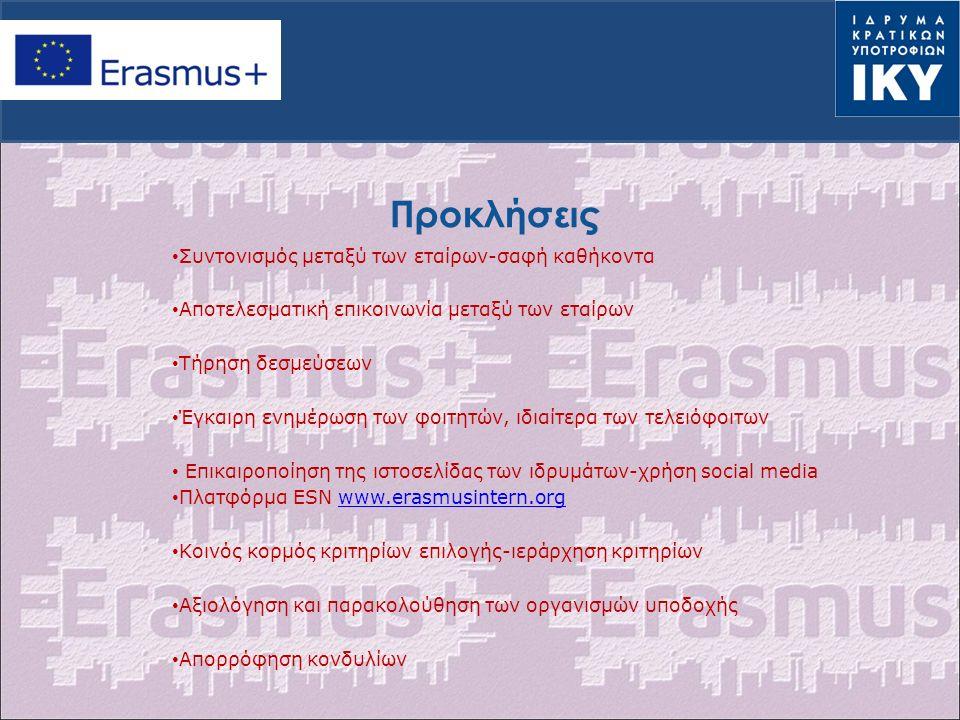 Προκλήσεις Συντονισμός μεταξύ των εταίρων-σαφή καθήκοντα Aποτελεσματική επικοινωνία μεταξύ των εταίρων Τήρηση δεσμεύσεων Έγκαιρη ενημέρωση των φοιτητών, ιδιαίτερα των τελειόφοιτων Επικαιροποίηση της ιστοσελίδας των ιδρυμάτων-χρήση social media Πλατφόρμα ESN www.erasmusintern.orgwww.erasmusintern.org Κοινός κορμός κριτηρίων επιλογής-ιεράρχηση κριτηρίων Αξιολόγηση και παρακολούθηση των οργανισμών υποδοχής Απορρόφηση κονδυλίων