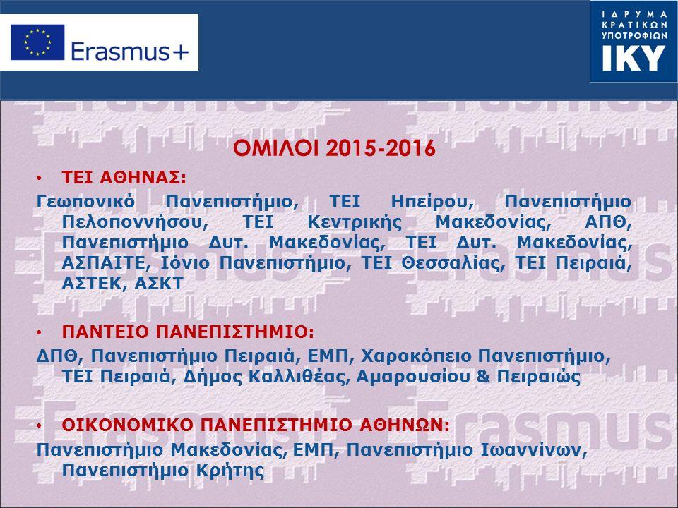 OΜΙΛΟΙ 2015-2016 ΤΕΙ ΑΘΗΝΑΣ: Γεωπονικό Πανεπιστήμιο, ΤΕΙ Ηπείρου, Πανεπιστήμιο Πελοποννήσου, ΤΕΙ Κεντρικής Μακεδονίας, ΑΠΘ, Πανεπιστήμιο Δυτ.