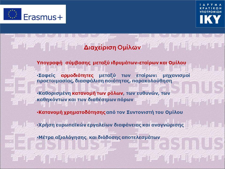 Διαχείριση Ομίλων Υπογραφή σύμβασης μεταξύ ιδρυμάτων-εταίρων και Ομίλου Σαφείς αρμοδιότητες μεταξύ των εταίρων: μηχανισμοί προετοιμασίας, διασφάλιση ποιότητας, παρακολούθηση Καθορισμένη κατανομή των ρόλων, των ευθυνών, των καθηκόντων και των διαθέσιμων πόρων Κατανομή χρηματοδότησης από τον Συντονιστή του Ομίλου Χρήση ευρωπαϊκών εργαλείων διαφάνειας και αναγνώρισης Μέτρα αξιολόγησης και διάδοσης αποτελεσμάτων