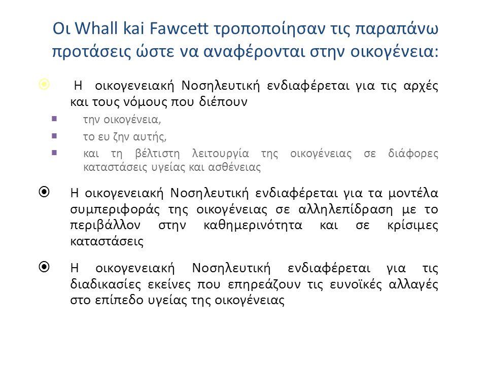 Οι Whall kai Fawcett τροποποίησαν τις παραπάνω προτάσεις ώστε να αναφέρονται στην οικογένεια:  Η οικογενειακή Νοσηλευτική ενδιαφέρεται για τις αρχές και τους νόμους που διέπουν  την οικογένεια,  το ευ ζην αυτής,  και τη βέλτιστη λειτουργία της οικογένειας σε διάφορες καταστάσεις υγείας και ασθένειας  Η οικογενειακή Νοσηλευτική ενδιαφέρεται για τα μοντέλα συμπεριφοράς της οικογένειας σε αλληλεπίδραση με το περιβάλλον στην καθημερινότητα και σε κρίσιμες καταστάσεις  Η οικογενειακή Νοσηλευτική ενδιαφέρεται για τις διαδικασίες εκείνες που επηρεάζουν τις ευνοϊκές αλλαγές στο επίπεδο υγείας της οικογένειας