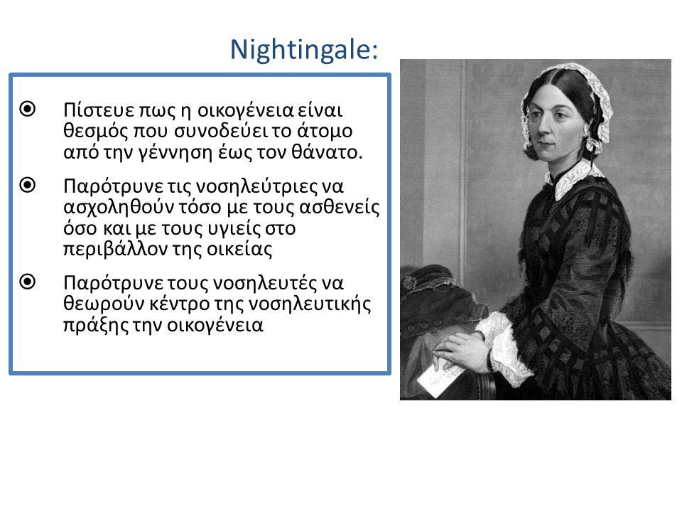 Nightingale:  Πίστευε πως η οικογένεια είναι θεσμός που συνοδεύει το άτομο από την γέννηση έως τον θάνατο.