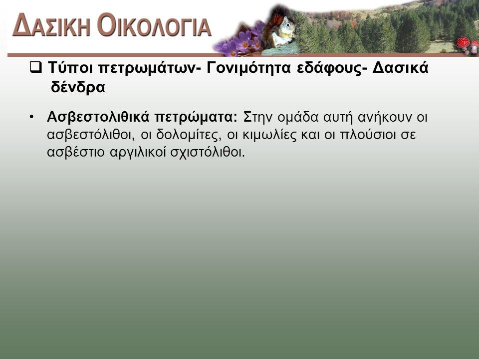 Τύποι πετρωμάτων- Γονιμότητα εδάφους- Δασικά δένδρα Ασβεστολιθικά πετρώματα: Στην ομάδα αυτή ανήκουν οι ασβεστόλιθοι, οι δολομίτες, οι κιμωλίες και οι πλούσιοι σε ασβέστιο αργιλικοί σχιστόλιθοι.