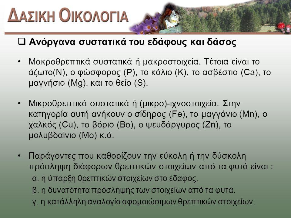  Ανόργανα συστατικά του εδάφους και δάσος Μακροθρεπτικά συστατικά ή μακροστοιχεία.
