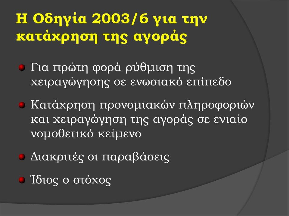 Η Οδηγία 2003/6 για την κατάχρηση της αγοράς Για πρώτη φορά ρύθμιση της χειραγώγησης σε ενωσιακό επίπεδο Κατάχρηση προνομιακών πληροφοριών και χειραγώγηση της αγοράς σε ενιαίο νομοθετικό κείμενο Διακριτές οι παραβάσεις Ίδιος ο στόχος