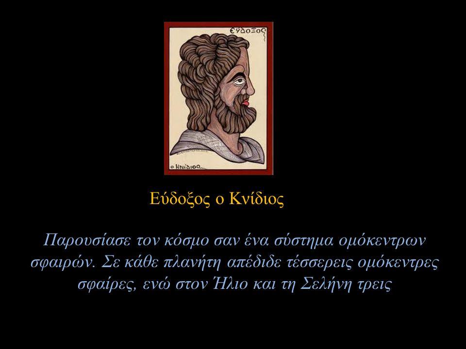 Εύδοξος ο Κνίδιος Παρουσίασε τον κόσμο σαν ένα σύστημα ομόκεντρων σφαιρών. Σε κάθε πλανήτη απέδιδε τέσσερεις ομόκεντρες σφαίρες, ενώ στον Ήλιο και τη