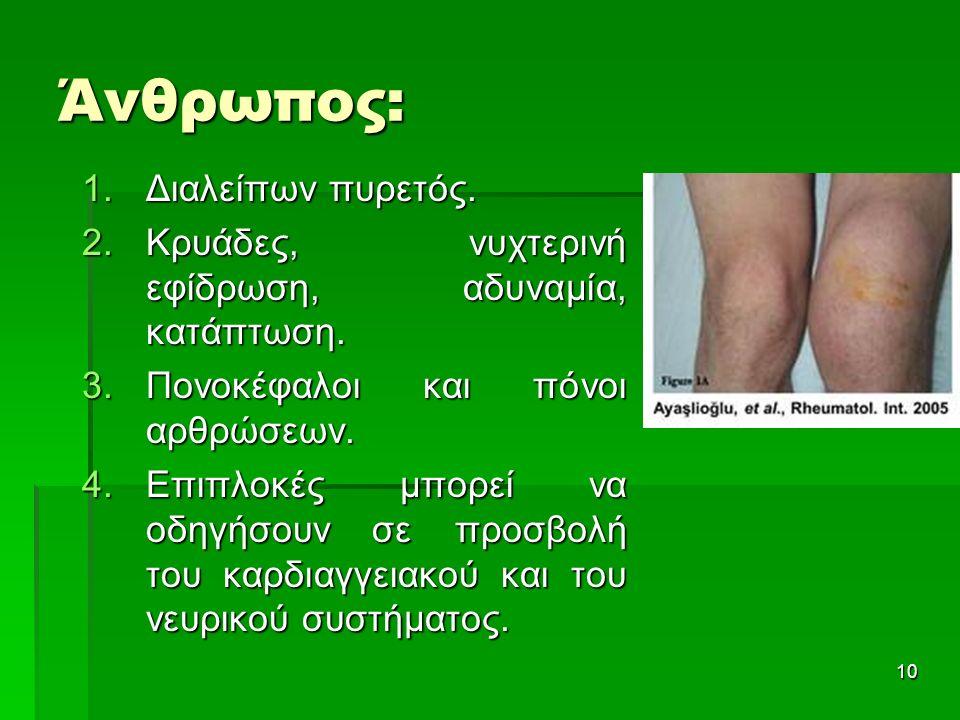 Άνθρωπος: 1.Διαλείπων πυρετός. 2.Κρυάδες, νυχτερινή εφίδρωση, αδυναμία, κατάπτωση. 3.Πονοκέφαλοι και πόνοι αρθρώσεων. 4.Επιπλοκές μπορεί να οδηγήσουν