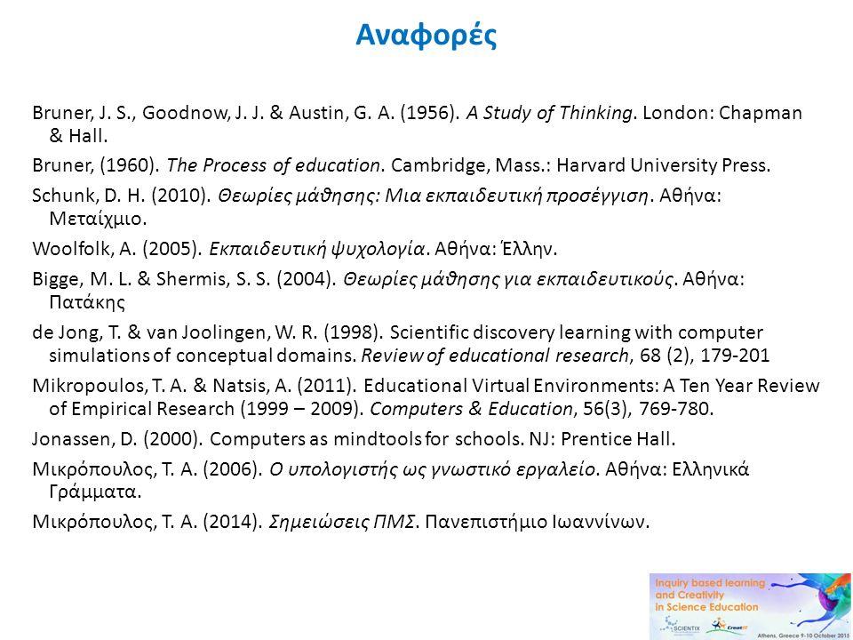 Αναφορές Bruner, J. S., Goodnow, J. J. & Austin, G. A. (1956). A Study of Thinking. London: Chapman & Hall. Bruner, (1960). The Process of education.