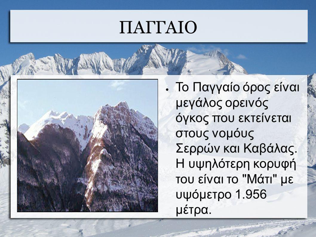 ΠΑΓΓΑΙΟ ● Το Παγγαίο όρος είναι μεγάλος ορεινός όγκος που εκτείνεται στους νομόυς Σερρών και Καβάλας.