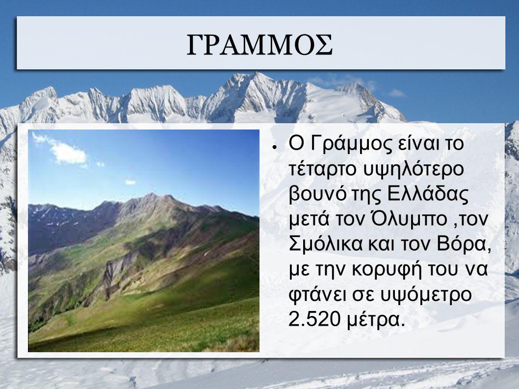 ΓΡΑΜΜΟΣ ● Ο Γράμμος είναι το τέταρτο υψηλότερο βουνό της Ελλάδας μετά τον Όλυμπο,τον Σμόλικα και τον Βόρα, με την κορυφή του να φτάνει σε υψόμετρο 2.520 μέτρα.