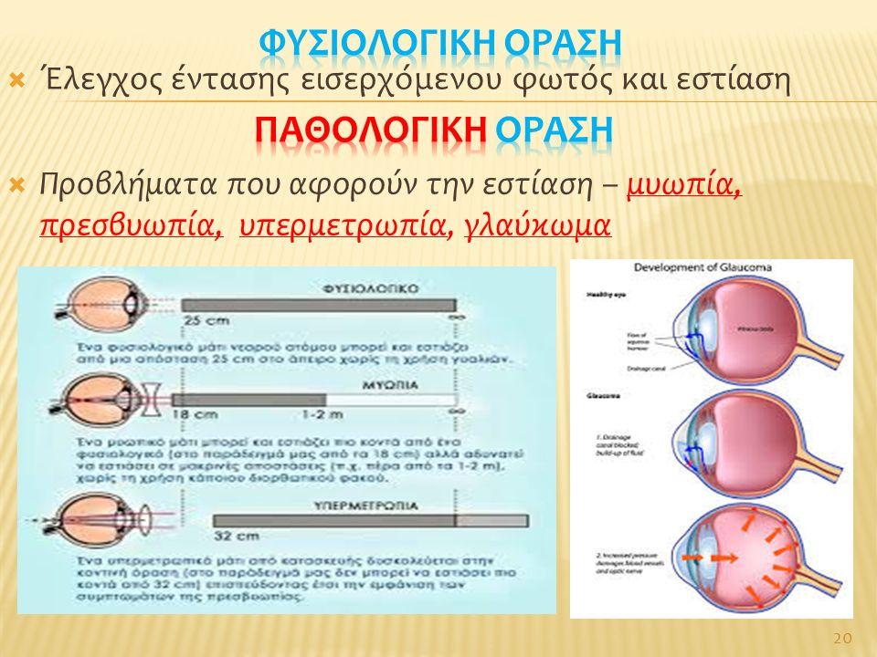  Έλεγχος έντασης εισερχόμενου φωτός και εστίαση  Προβλήματα που αφορούν την εστίαση – μυωπία, πρεσβυωπία, υπερμετρωπία, γλαύκωμα 20