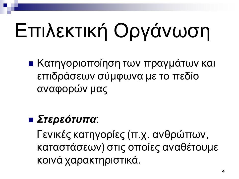 4 Επιλεκτική Oργάνωση Κατηγοριοποίηση των πραγμάτων και επιδράσεων σύμφωνα με το πεδίο αναφορών μας Στερεότυπα: Γενικές κατηγορίες (π.χ.