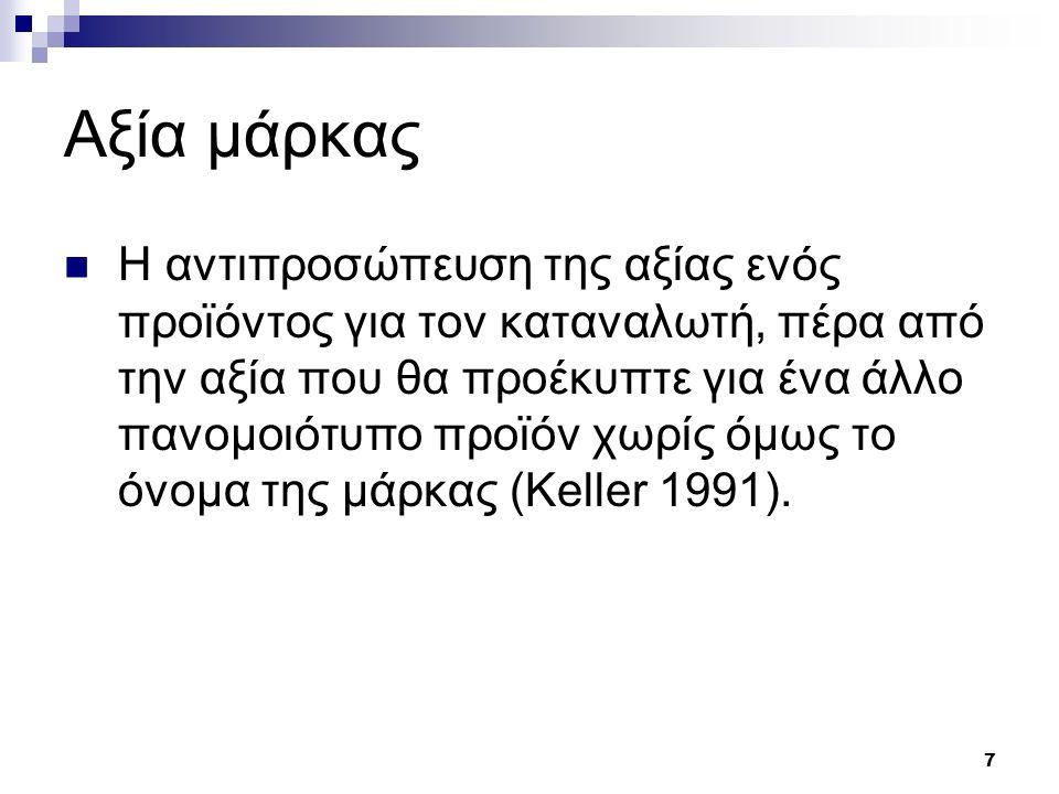 7 Αξία μάρκας Η αντιπροσώπευση της αξίας ενός προϊόντος για τον καταναλωτή, πέρα από την αξία που θα προέκυπτε για ένα άλλο πανομοιότυπο προϊόν χωρίς όμως το όνομα της μάρκας (Keller 1991).