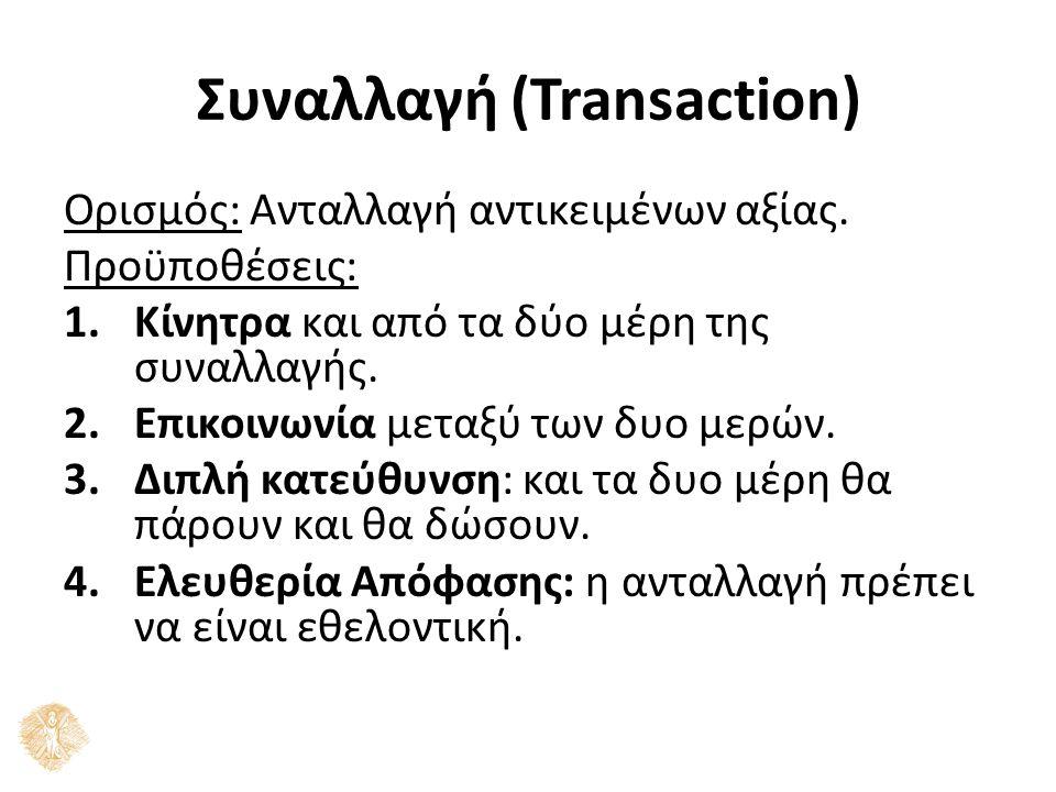 Συναλλαγή (Transaction) Ορισμός: Ανταλλαγή αντικειμένων αξίας. Προϋποθέσεις: 1.Κίνητρα και από τα δύο μέρη της συναλλαγής. 2.Επικοινωνία μεταξύ των δυ