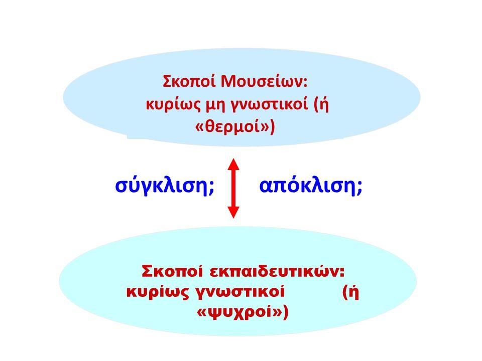 Σκοποί εκπαιδευτικών: κυρίως γνωστικοί (ή «ψυχροί») Σκοποί Μουσείων: κυρίως μη γνωστικοί (ή «θερμοί») σύγκλιση; απόκλιση;
