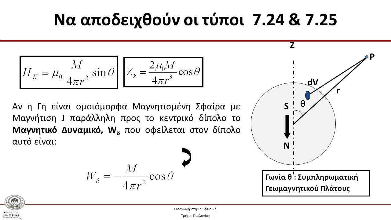 Αριστοτέλειο Πανεπιστήμιο Θεσσαλονίκης Εισαγωγή στη Γεωφυσική Τμήμα Γεωλογίας B)B) Ζ N S θ dV r P Aν η Γη είναι ομοιόμορφα Μαγνητισμένη Σφαίρα με Μαγνήτιση J παράλληλη προς το κεντρικό δίπολο το Μαγνητικό Δυναμικό, W δ που οφείλεται στον δίπολο αυτό είναι: Γωνία θ : Συμπληρωματική Γεωμαγνητικού Πλάτους Να αποδειχθούν οι τύποι 7.24 & 7.25