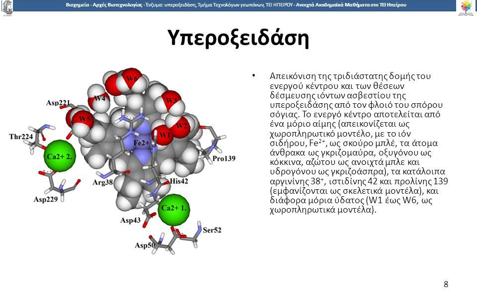 8 Βιοχημεία - Αρχές Βιοτεχνολογίας - Ένζυμα: υπεροξειδάση, Τμήμα Τεχνολόγων γεωπόνων, ΤΕΙ ΗΠΕΙΡΟΥ - Ανοιχτά Ακαδημαϊκά Μαθήματα στο ΤΕΙ Ηπείρου Υπεροξειδάση Απεικόνιση της τριδιάστατης δομής του ενεργού κέντρου και των θέσεων δέσμευσης ιόντων ασβεστίου της υπεροξειδάσης από τον φλοιό του σπόρου σόγιας.