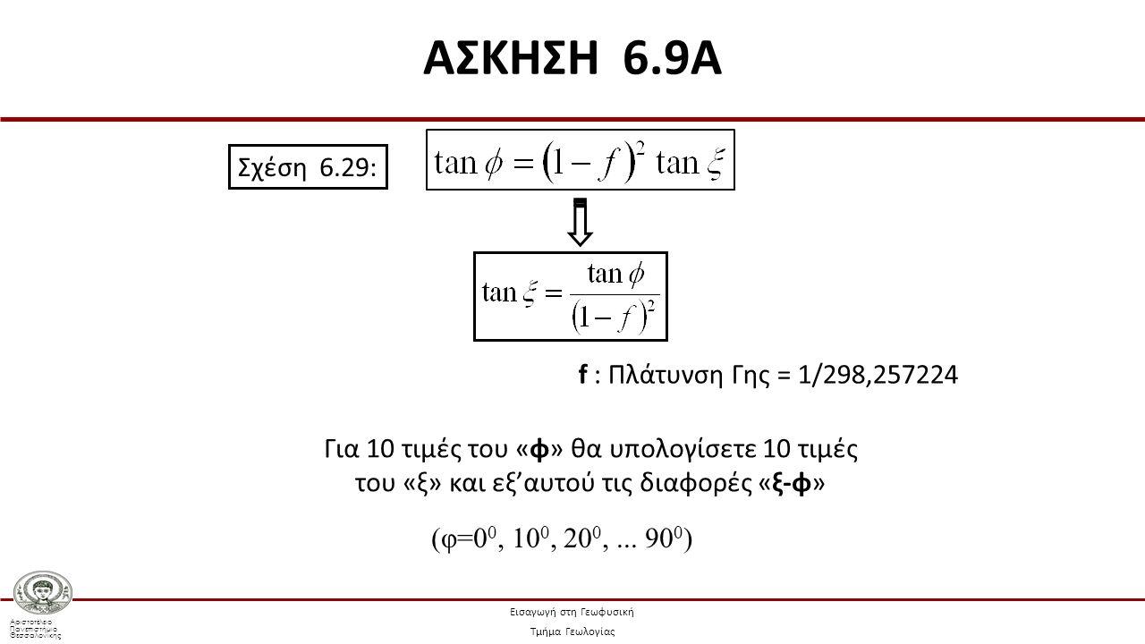 Αριστοτέλειο Πανεπιστήμιο Θεσσαλονίκης Εισαγωγή στη Γεωφυσική Τμήμα Γεωλογίας Σχέση 6.29: Για 10 τιμές του «φ» θα υπολογίσετε 10 τιμές του «ξ» και εξ'αυτού τις διαφορές «ξ-φ» (φ=0 0, 10 0, 20 0,...