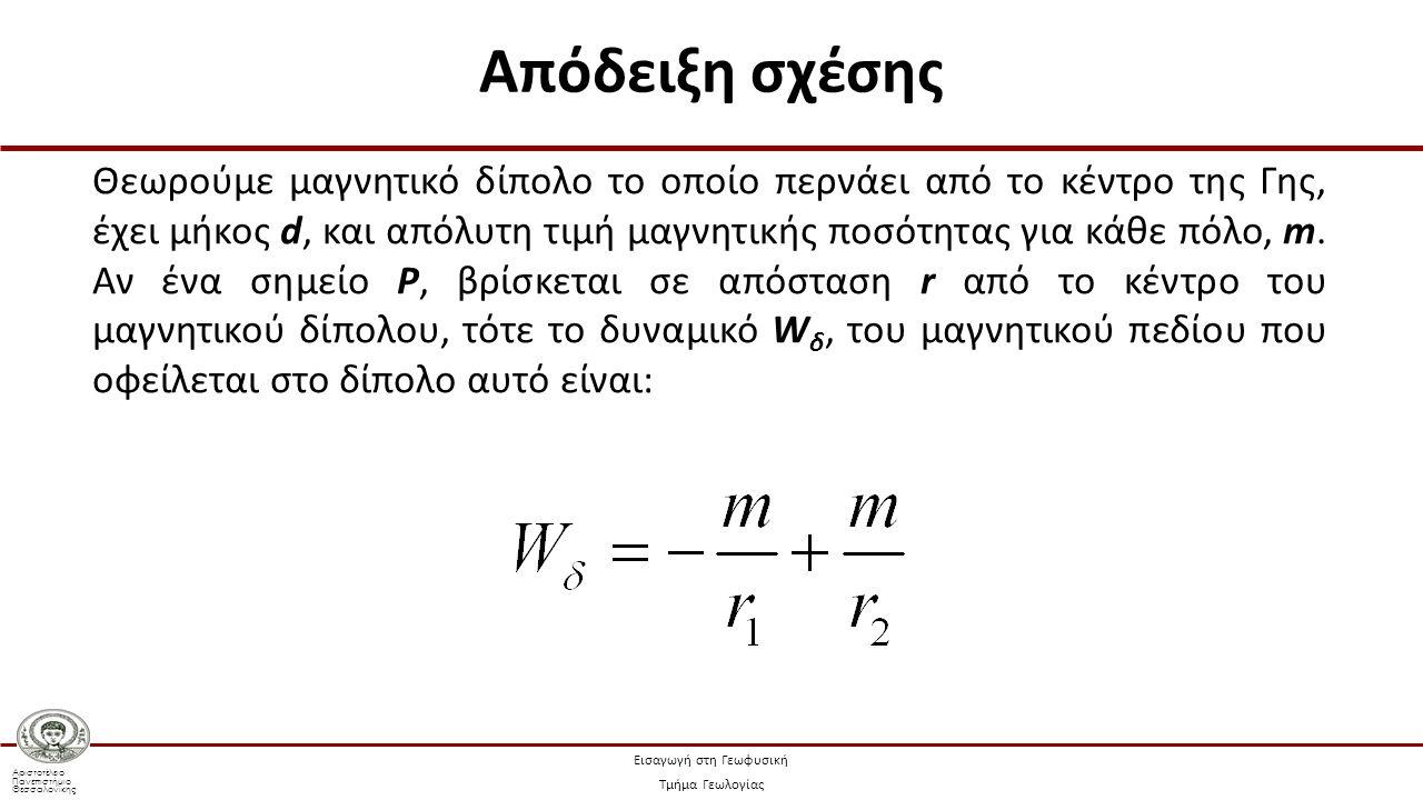 Αριστοτέλειο Πανεπιστήμιο Θεσσαλονίκης Εισαγωγή στη Γεωφυσική Τμήμα Γεωλογίας Θεωρούμε μαγνητικό δίπολο το οποίο περνάει από το κέντρο της Γης, έχει μ