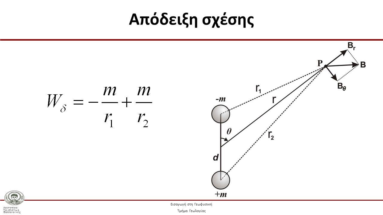 Αριστοτέλειο Πανεπιστήμιο Θεσσαλονίκης Εισαγωγή στη Γεωφυσική Τμήμα Γεωλογίας Απόδειξη σχέσης