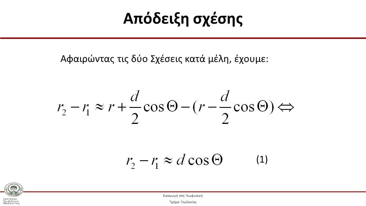 Αριστοτέλειο Πανεπιστήμιο Θεσσαλονίκης Εισαγωγή στη Γεωφυσική Τμήμα Γεωλογίας Αφαιρώντας τις δύο Σχέσεις κατά μέλη, έχουμε: (1) Απόδειξη σχέσης